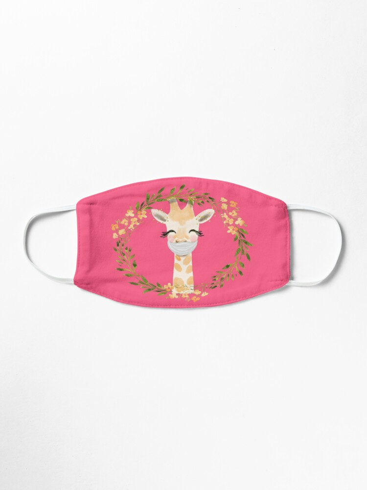 Alternate view of Cute Baby Giraffe with Face Mask and Flowers Mask
