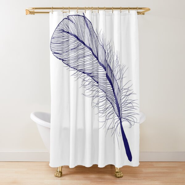 Fat Feather in Navy Shower Curtain