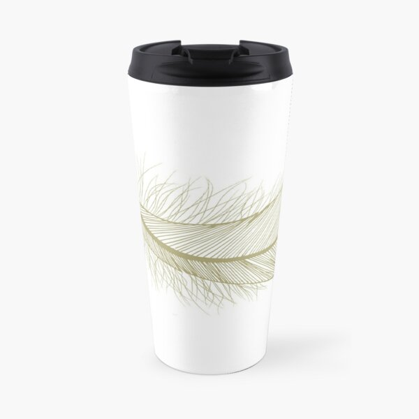 Fat Feather in non-metalic Gold Travel Mug