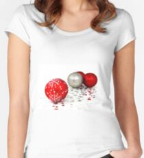Red and Silver Christmas Decoration Balls Women's Fitted Scoop T-Shirt
