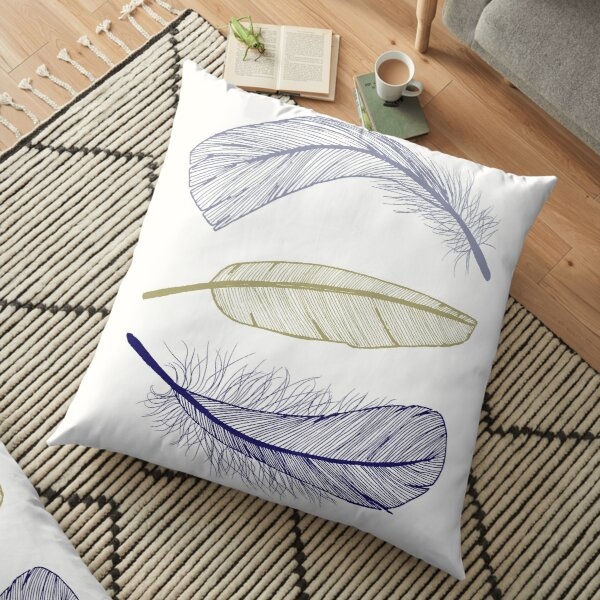 Feathers in Three Colours Floor Pillow