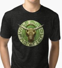Wild Audio Frontier Headphone MP3 Cattle Skull Graphic Tri-blend T-Shirt