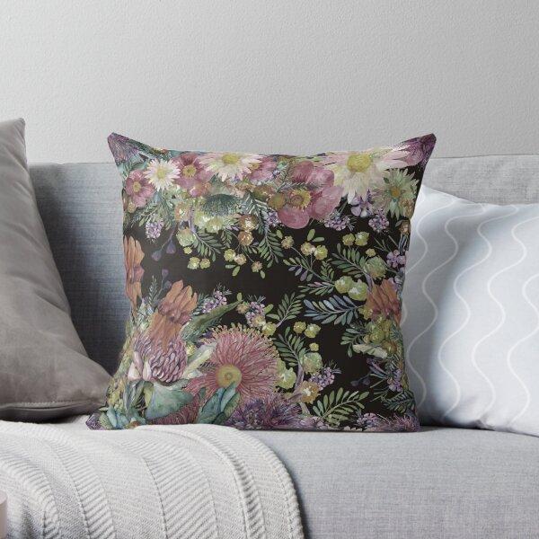 Australian Watercolor Wildflowers - Vintage Color Palette Throw Pillow