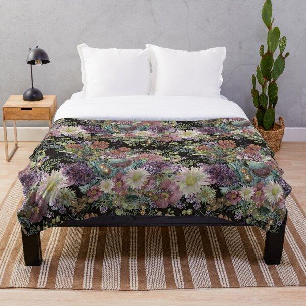 Australian Watercolor Wildflowers - Vintage Color Palette Throw Blanket