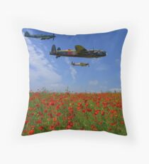BBMF over the Poppy Field Throw Pillow