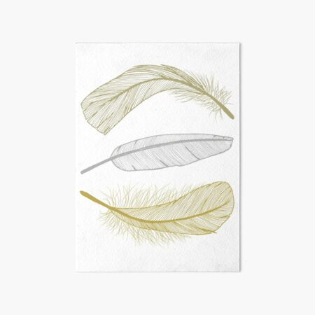 Feathers in non-metalic Silver and Golds Art Board Print