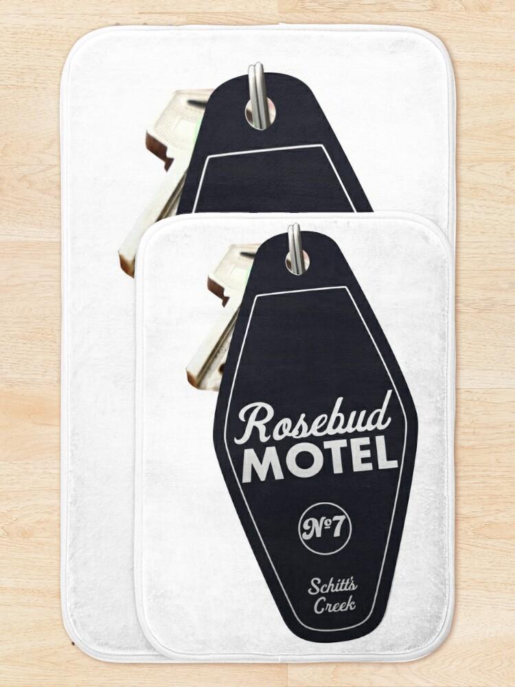 Alternate view of Schitt's Creek Rosebud Motel Key Tag for Room 7, Retro design in black Bath Mat