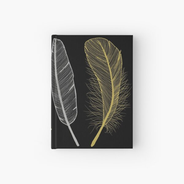 Feathers in non-metalic Silver and Golds on Black Hardcover Journal