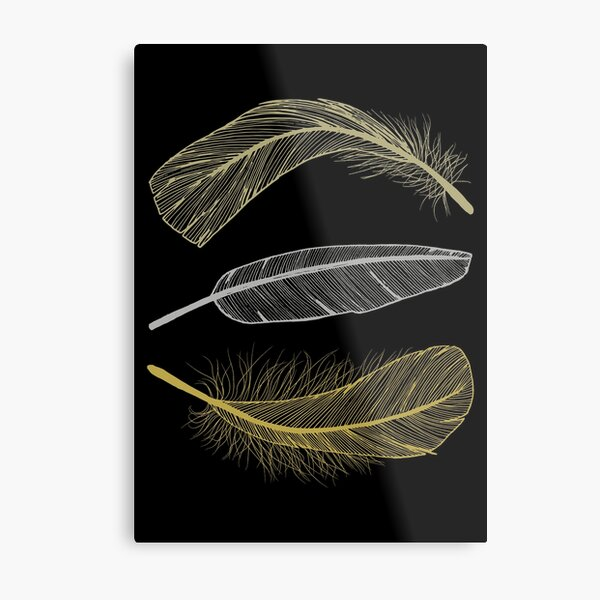 Feathers in non-metalic Silver and Golds on Black Metal Print