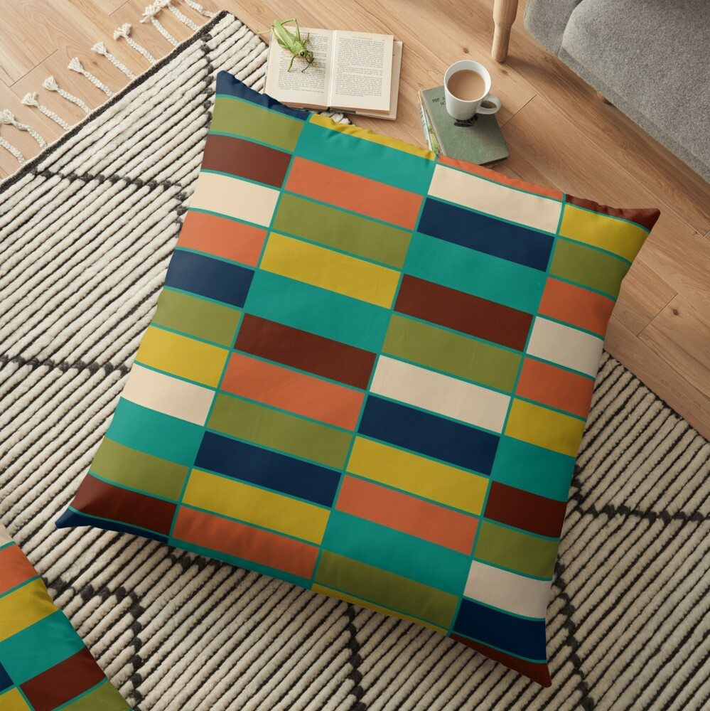 Mid Mod Blocks  - Mid-century Modern Geometric Retro Pattern in Olive, Mustard, Teal, and Orange Floor Pillow