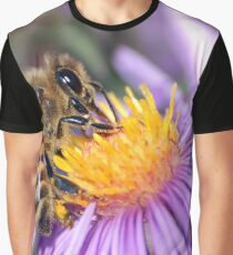 Honey Bee On Purple Flower Graphic T-Shirt