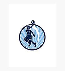 Basketball Player Dunk Ball Retro Photographic Print
