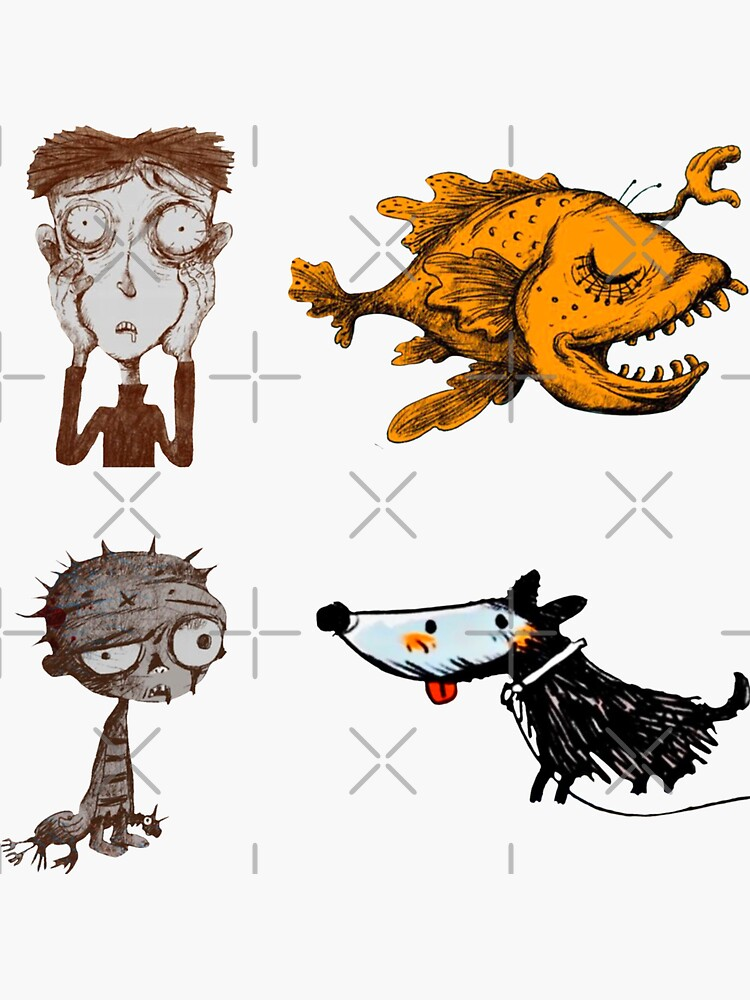 Sticker pack It's okay to not be okay zombie boy, the boy who fed on nightmares, the hand the monkfish, the cheerful dog,  by EmmyWhammy