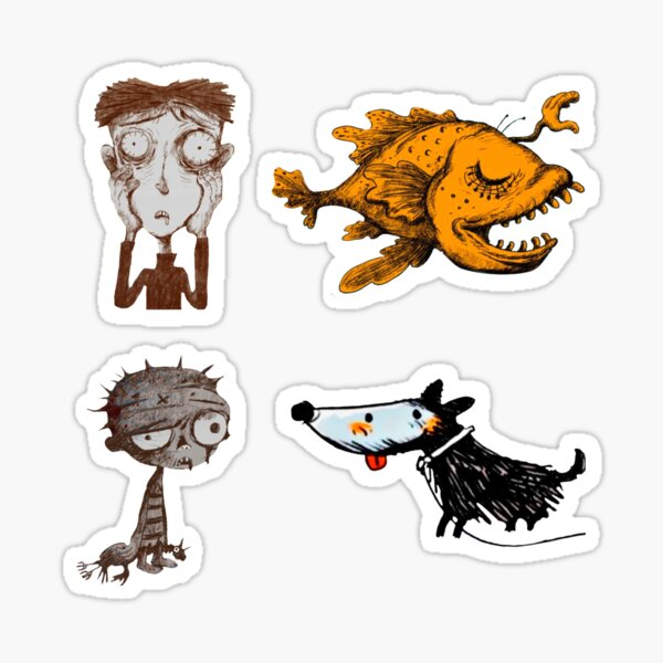 Sticker pack It's okay to not be okay zombie boy, the boy who fed on nightmares, the hand the monkfish, the cheerful dog,  Sticker