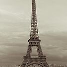 Sepia Eiffel Tower in Paris by OlivierImages