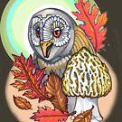 autumn barn owl, with morel by resonanteye