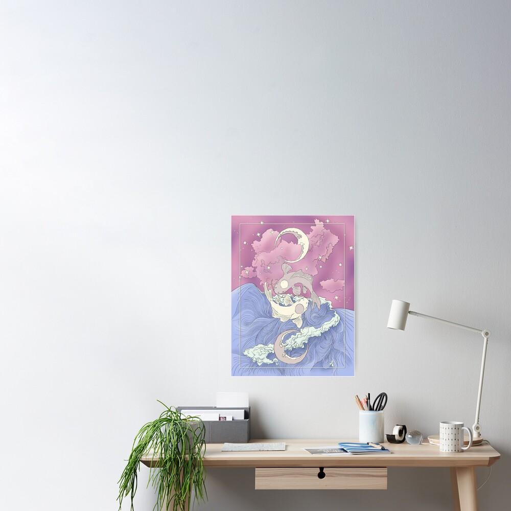 Tui and La, Moon and Ocean Spirits Art Nouveau Poster