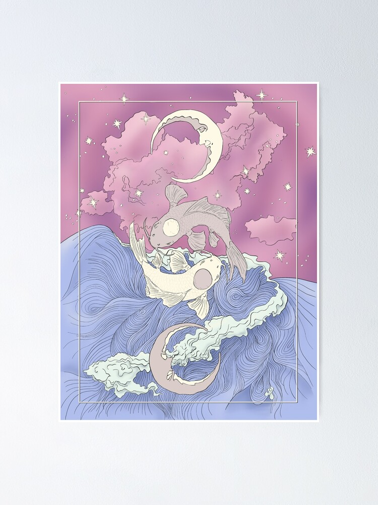 Alternate view of Tui and La, Moon and Ocean Spirits Art Nouveau Poster