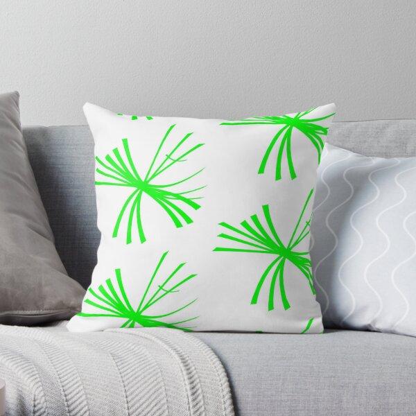 Dandelion fluffy, light green on white Throw Pillow