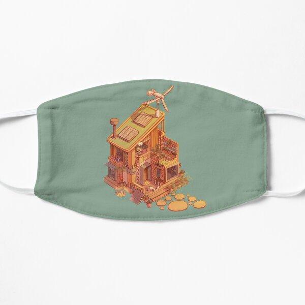 Karikatur Winziges Isometrisches Haus Flache Maske