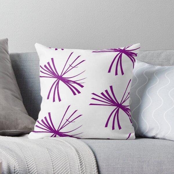 Dandelion fluffy, dark purple on white Throw Pillow