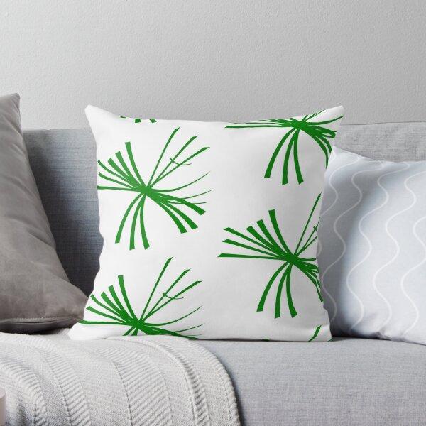 Dandelion fluffy, dark green on white Throw Pillow