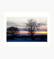 Winter sky over Lincolnshire Art Print