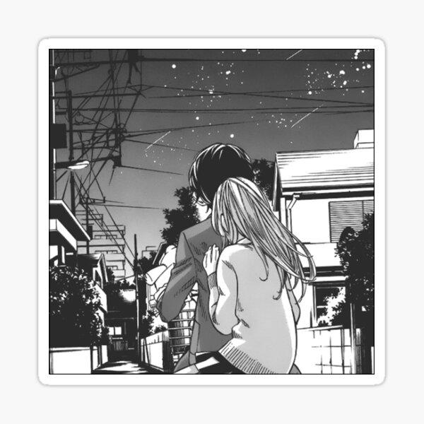 Diseño ilustración arte manga estrellas cielo pareja kaori kousei your lie in april Pegatina