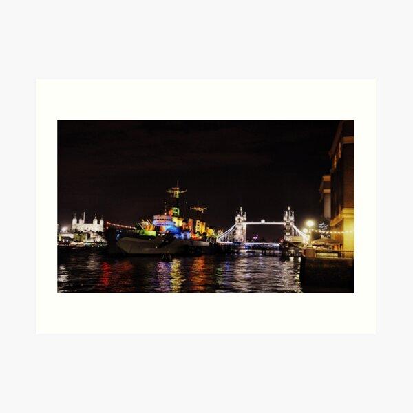 Presenting HMS Belfast Art Print