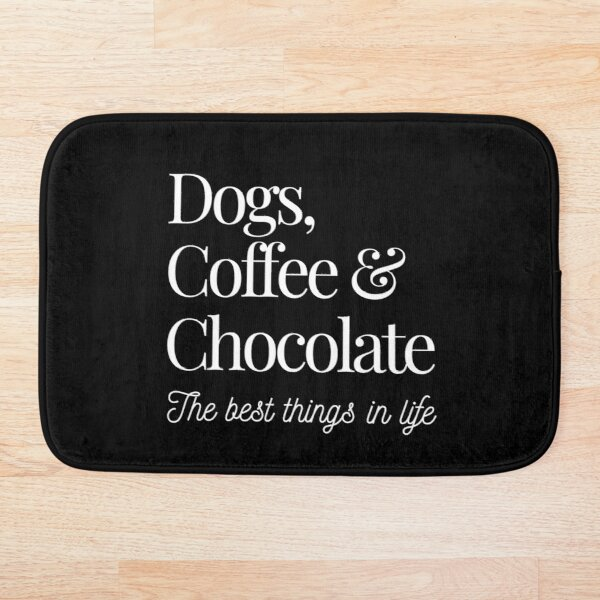 Dogs, Coffee and Chocolate Bath Mat