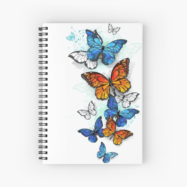 Flying Butterflies Morpho and Monarch Spiral Notebook