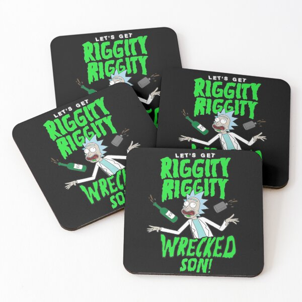 Rick Worlds For Men And Women And Riggity Spiral  Coasters (Set of 4)
