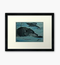 Wolf Relaxing After a Night of Hunting Framed Print