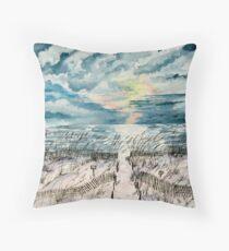 beach sunset art print Throw Pillow