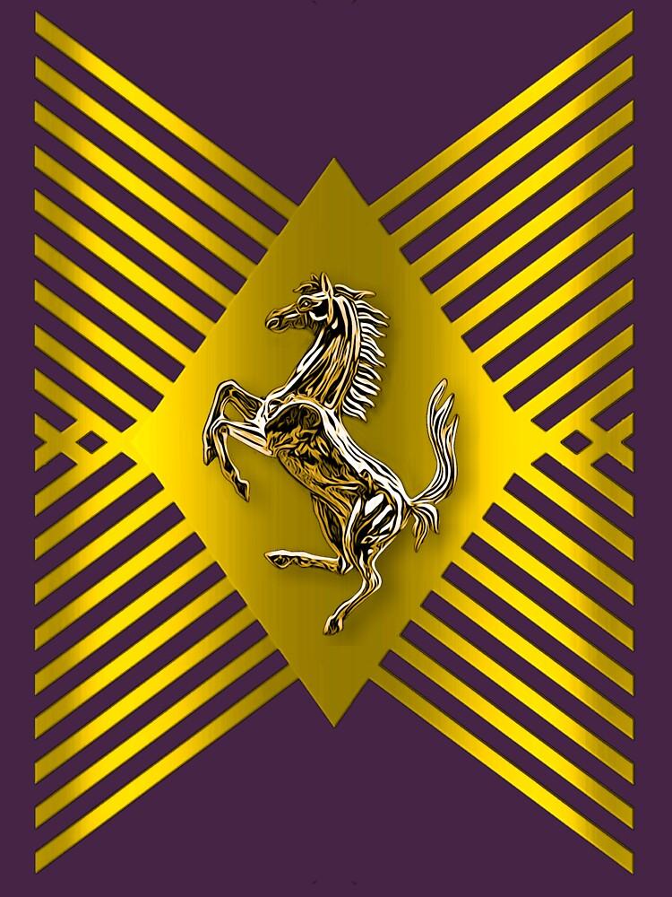 Golden Prancing Horse by Vk91art