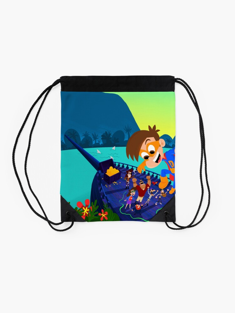 Alternate view of Drew Pendous Pirate Adventure Cool School Drawstring Bag