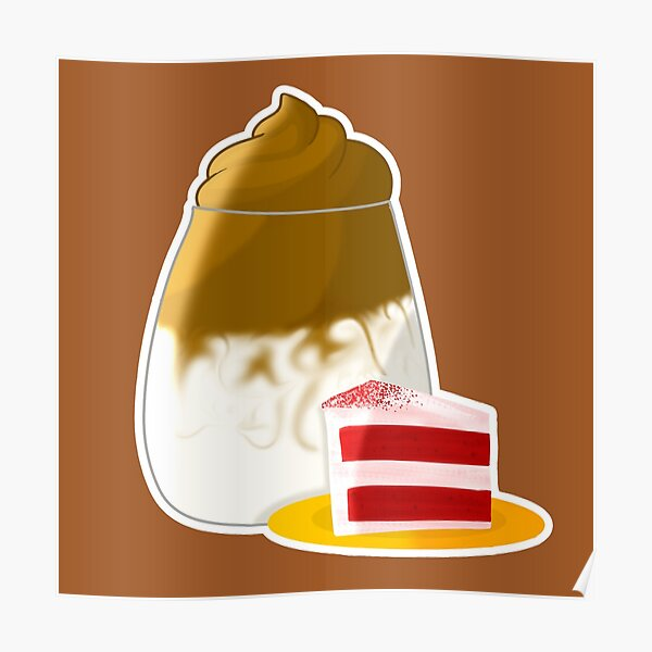 Dalgona Coffee with Cake Sticker Poster