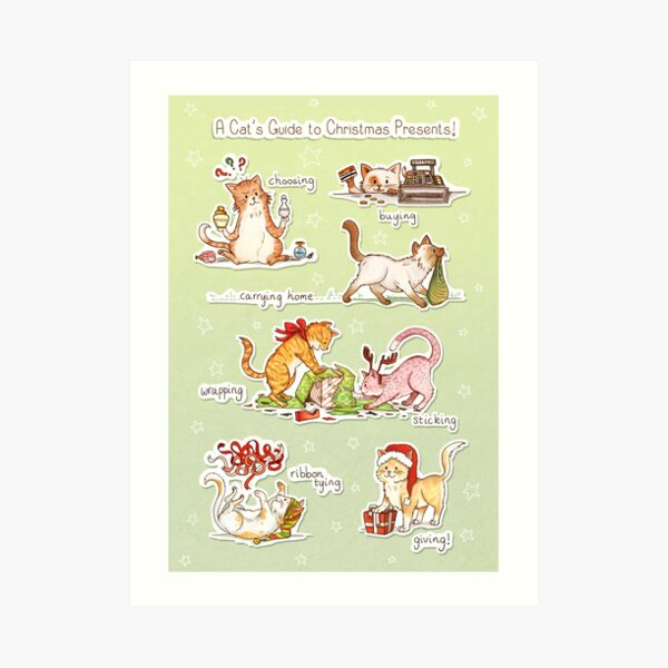 A Cat's Guide to Christmas Presents Art Print
