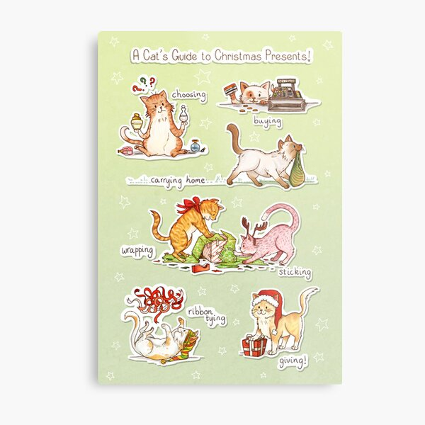 A Cat's Guide to Christmas Presents Metal Print