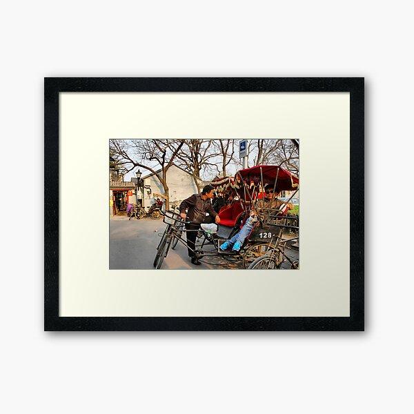 Rickshaws in Beijing city Framed Art Print