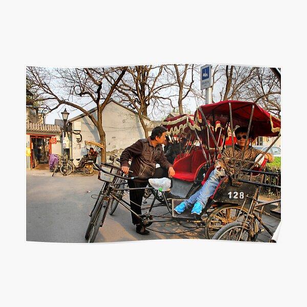 Rickshaws in Beijing city Poster