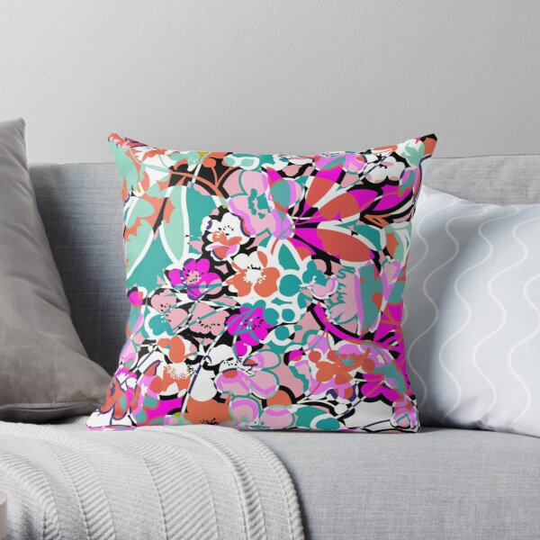 Bright Floral with Turquoise Abstract  Throw Pillow