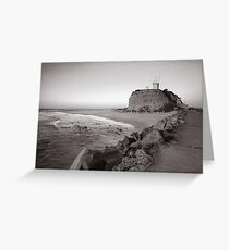 Nobbys Lighthouse - B&W Greeting Card