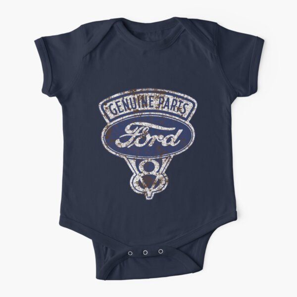 Oil Stained Ford Sign Short Sleeve Baby One-Piece