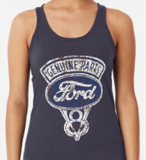 Oil Stained Ford Sign Racerback Tank Top