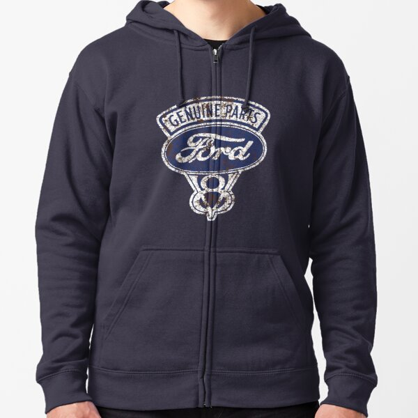Oil Stained Ford Sign Zipped Hoodie