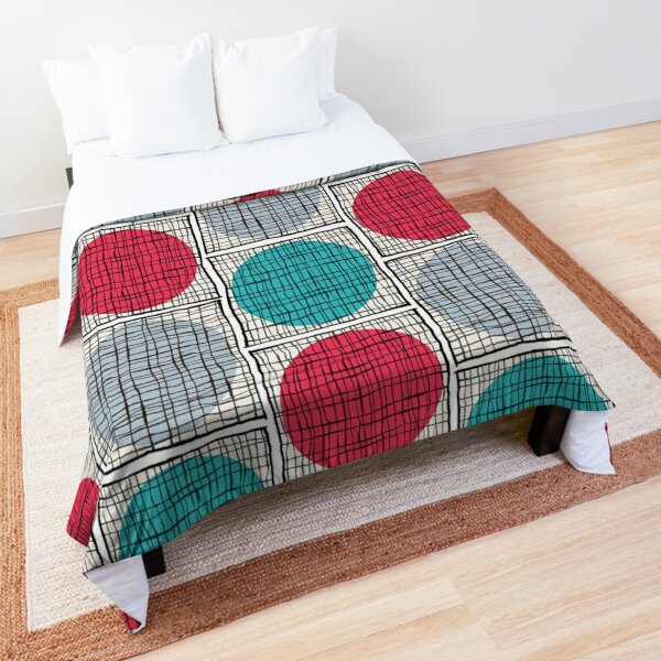 Mid-Mod Circle Grid - Aqua/Red/PaleBlue Comforter