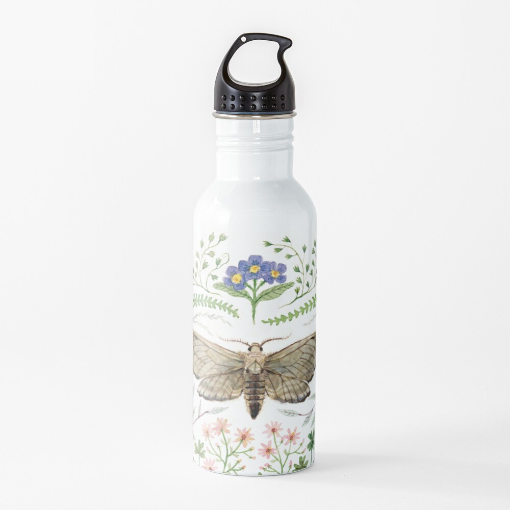 Moth with Plants II Water Bottle