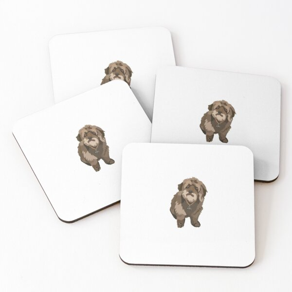 Cute brown fluffy dog Coasters (Set of 4)