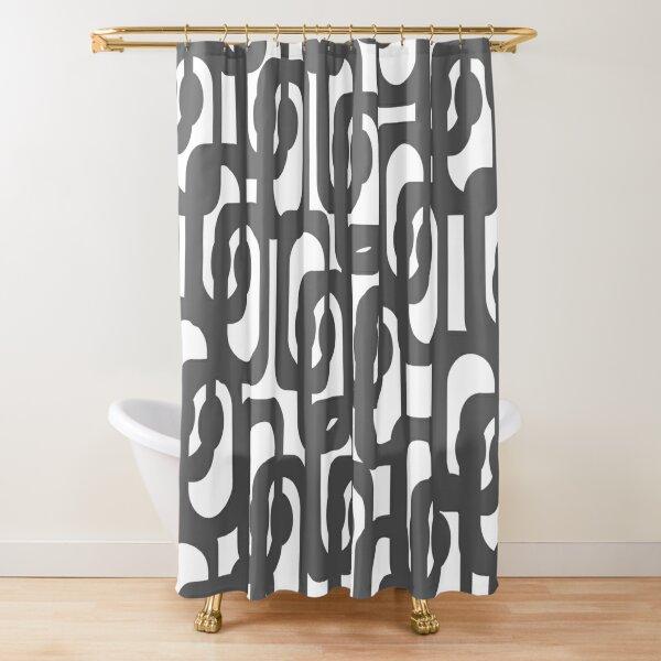 Dark Grey and White Mid-century Modern Loop Pattern Shower Curtain